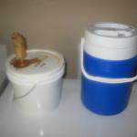 Mash tun and fermenter for size comparison